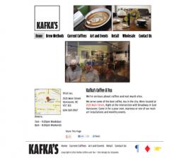 Screenshot of Kafka's Coffee & Tea Website