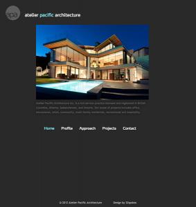 Screenshot Atelier Pacific Architecture Website
