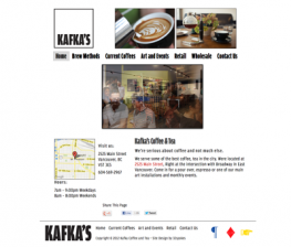 Screenshot of Kafka's Coffee & Tea Website